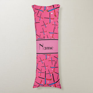 Personalized name pink field hockey body pillow