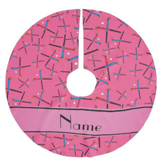 Personalized name pink field hockey tree skirt