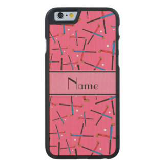 Personalized name pink field hockey carved® maple iPhone 6 slim case