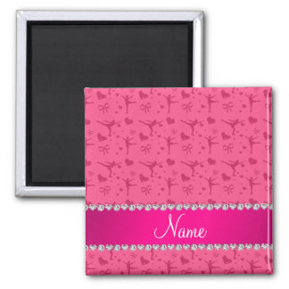 Personalized name pink figure skating fridge magnet