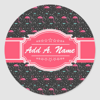 Personalized Name Pink Flamingo Pattern Round Sticker