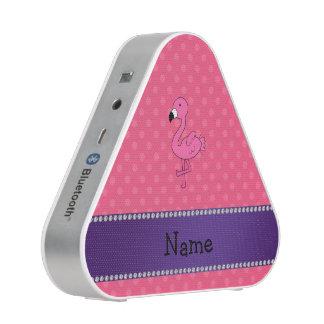 Personalized name pink flamingo pink polka dots bluetooth speaker