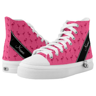 Personalized name pink flamingos high tops