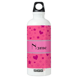 Personalized name pink flowers hearts swirls stars water bottle