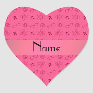 Personalized name pink geek pattern heart sticker
