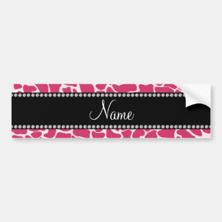 Personalized name pink giraffe pattern bumper sticker