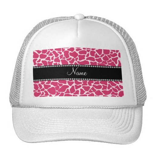 Personalized name pink giraffe pattern hat