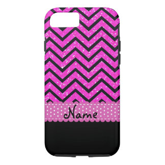 Personalized Name Pink Glitter and Black Chevrons iPhone 8/7 Case