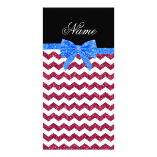 Personalized name pink glitter chevrons blue bow personalized photo card
