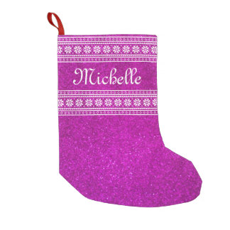 Personalized name pink glitter Christmas stocking