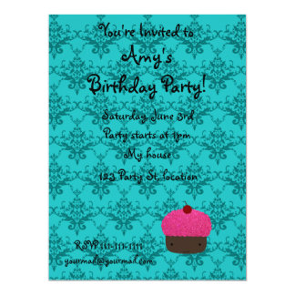 Personalized name pink glitter cupcake damask custom invitations