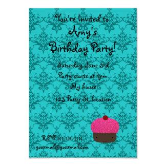 Personalized name pink glitter cupcake damask custom invitations