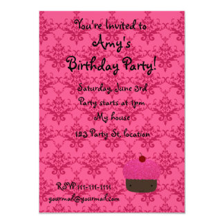 Personalized name pink glitter cupcake damask announcement