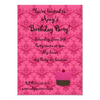Personalized name pink glitter cupcake damask 11 cm x 16 cm invitation card