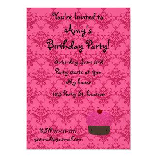 "Personalized name pink glitter cupcake damask 5.5"" x 7.5"" invitation card"
