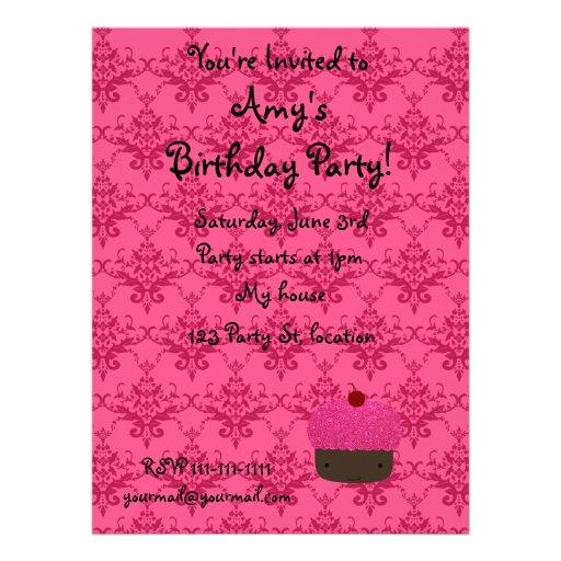Personalized name pink glitter cupcake damask invites