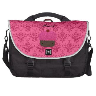 Personalized name pink glitter cupcake damask laptop commuter bag