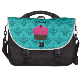 Personalized name pink glitter cupcake damask bag for laptop