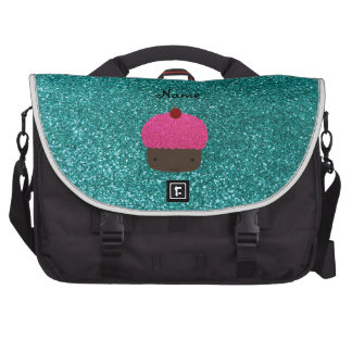 Personalized name pink glitter cupcake bag for laptop