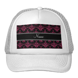 Personalized name pink glitter damask trucker hat