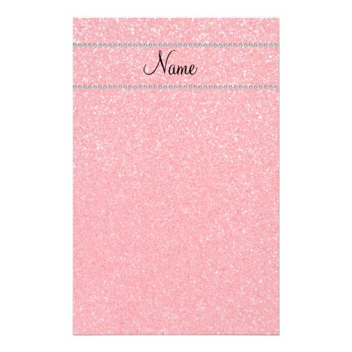 Personalized name pink glitter diamonds stationery paper
