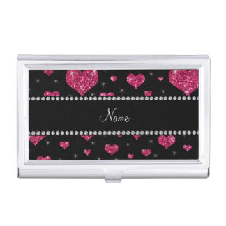 Personalized name pink glitter hearts business card case