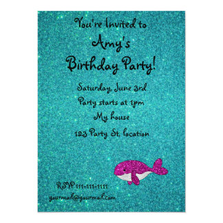 """Personalized name pink glitter whale turquoise 5.5"""" x 7.5"""" invitation card"""