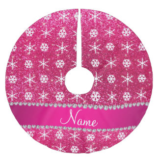 Personalized name pink glitter white snowflakes brushed polyester tree skirt