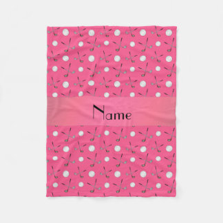 Personalized name pink golf balls fleece blanket