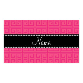 Personalized name pink greek key pattern business card templates