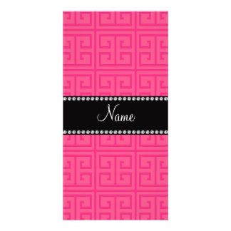 Personalized name pink greek key pattern personalised photo card