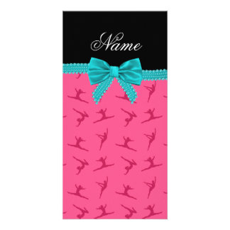 Personalized name pink gymnastics turquoise bow photo card