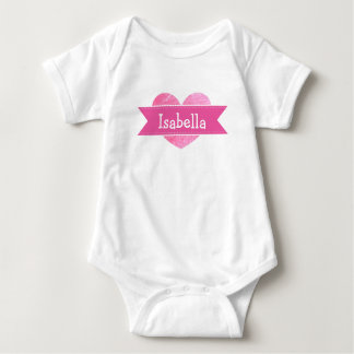 Personalized Name Pink heart Baby Girl Bodysuit