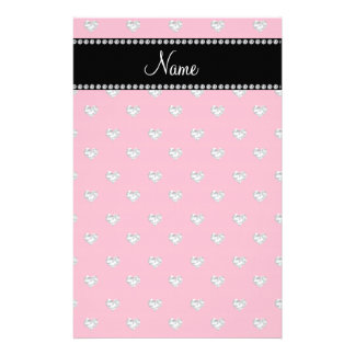 Personalized name pink heart diamonds stationery paper