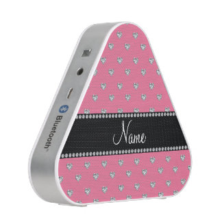Personalized name pink hearts black stripe speaker