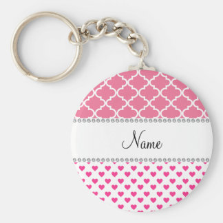 Personalized name pink hearts pink moroccan key ring