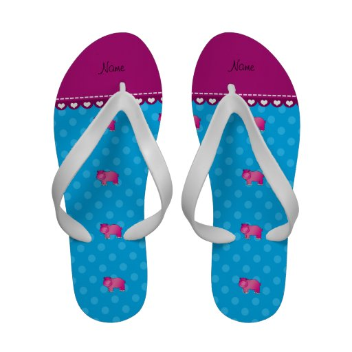 Personalized name pink hippo blue polka dots flip flops