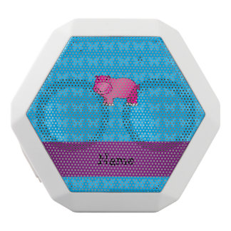 Personalized name pink hippo white boombot rex bluetooth speaker
