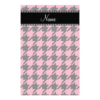 Personalized name pink houndstooth pattern stationery