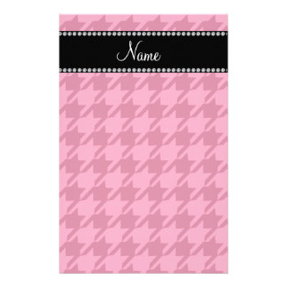 Personalized name pink houndstooth pattern stationery design