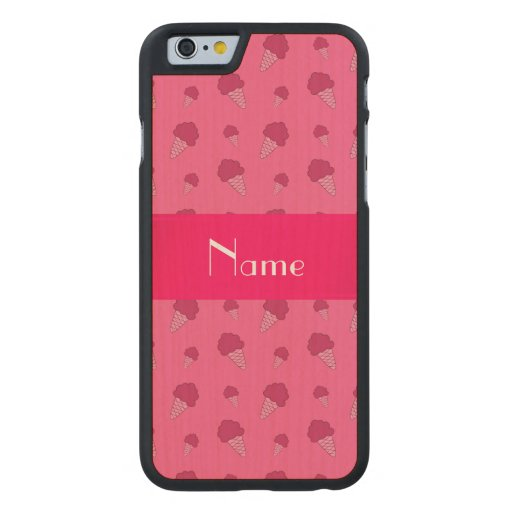 Personalized name pink ice cream pattern carved® maple iPhone 6 slim case