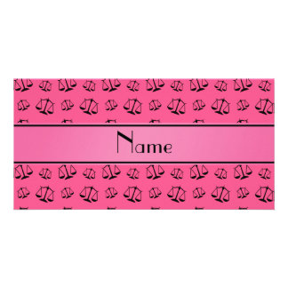 Personalized name pink justice scales customised photo card