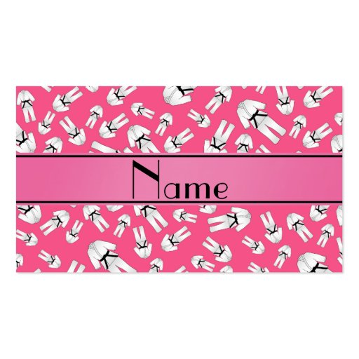 Personalized name pink karate pattern business card template