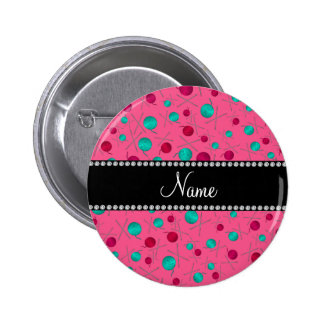Personalized name pink knitting pattern buttons