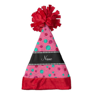 Personalized name pink knitting pattern santa hat