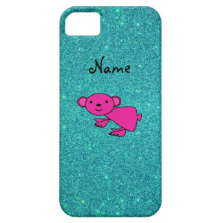 Personalized name pink koala glitter iPhone 5 cover