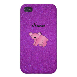 Personalized name pink koala purple glitter cover for iPhone 4