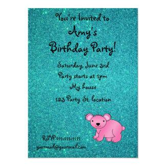 Personalized name pink koala turquoise glitter personalized invitation