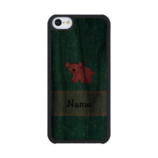 Personalized name pink koala turquoise glitter carved® walnut iPhone 5C case