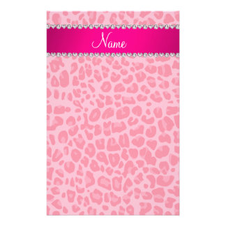 Personalized name pink leopard pattern stationery